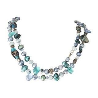 """Blue-Green Pearls with Silver and Glass Bead 44"""" Necklace"""