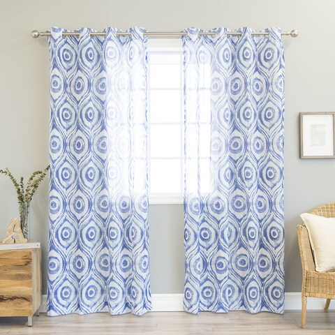 Aurora Home Sunburst Shibori Print Faux Linen Curtain Panel Pair - 52 x 84