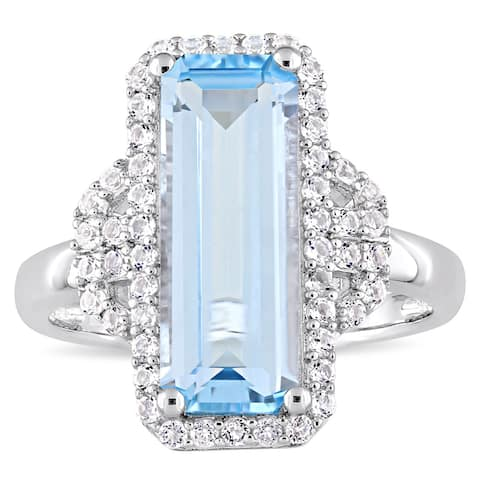 Miadora Sterling Silver Octagon-Cut Sky-Blue Topaz and Round-Cut White Topaz Halo Cocktail Ring - Blue