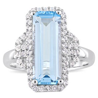 Miadora Sterling Silver Octagon-Cut Sky-Blue Topaz and Round-Cut White Topaz Halo Cocktail Ring