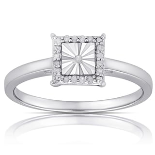 Finesque Sterling Silver 1/10ct Tw Diamond Miracle Plate Square Ring (I-J, I2-I3)