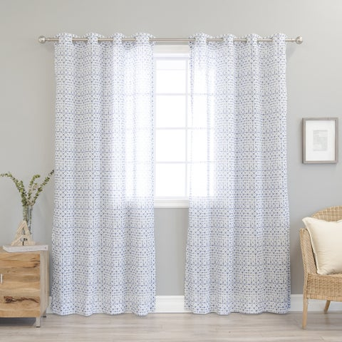 Aurora Home Diamond Shibori Print Faux Linen Curtain Panel Pair - N/A