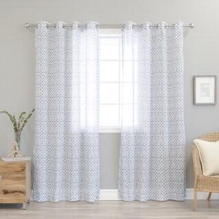 Aurora Home Diamond Shibori Print Faux Linen Curtain Panel Pair - N/A
