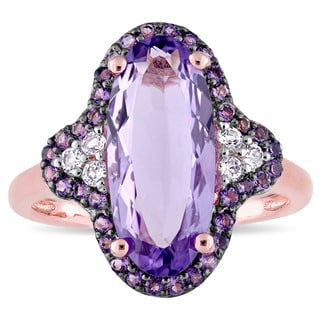 Miadora Rose Plated Sterling Silver with Black Rhodium Amethyst African-Amethyst and White Topaz Halo Cocktail Ring