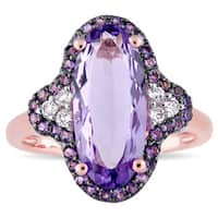Miadora Rose Plated Sterling Silver with Black Rhodium Amethyst African-Amethyst and White Topaz Hal