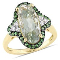 Miadora Yellow Plated Sterling Silver Oval-cut Green Amethyst Tsavorite and White Topaz Halo Cocktai