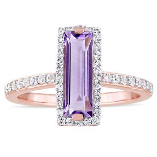 Miadora Rose Plated Sterling Silver Baguette-Cut African-Amethyst and White Sapphire Halo Bar Ring
