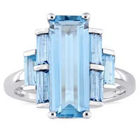 Miadora Sterling Silver Octagon and Baguette-Cut Swiss-Blue Topaz 7-Stone Rectangular Cluster Ring - Blue