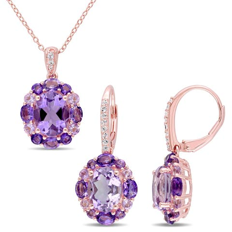 Miadora Rose Plated Sterling Silver African Brazilian Amethyst White Topaz and Rose de France Necklace & Earrings Set