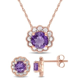 Miadora Signature Collection 10k Rose Gold Amethyst Flower Halo Necklace and Stud Earrings Set