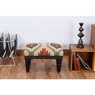 Herat Oriental Indo Handmade Kilim Upholstered Footstool