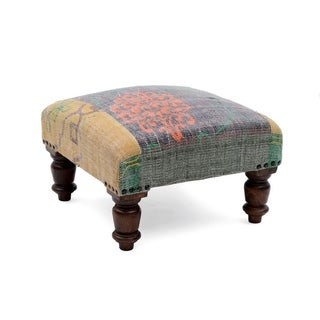 Handmade Herat Oriental Indo Cotton Upholstered Footstool (India)