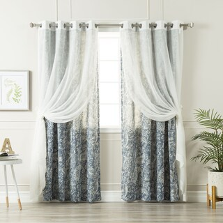 Aurora Home Mix & Match Sheer Linen and Paisley Watercolor 4 Piece Curtain Panel Set - 52 x 84