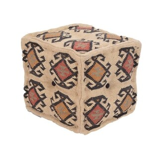 Herat Oriental Indo Handmade Kilim Upholstered Pouf