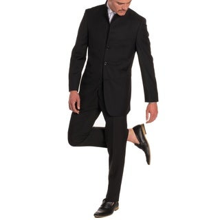 Black Mandarin Collar Suit-Modern Fit-2 Piece-5 Button by FERRECCI