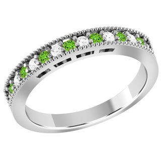 Jeweltique Designs 10k White Gold Ring Band with Tsavorite and Diamond (1/8 TDW)
