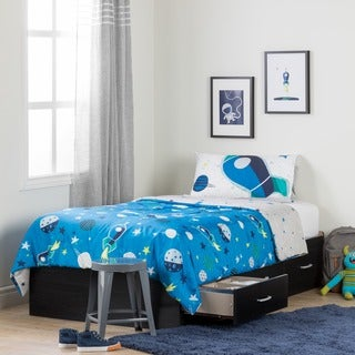 South Shore Cosmos Black Onyx and Blue Twin Mates Bed with Cosmic Comforter and Pillowcase