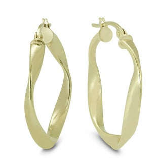 Marquee Jewels 14K Yellow Gold Twisted Wavy Hoop Earrings (25 MM)