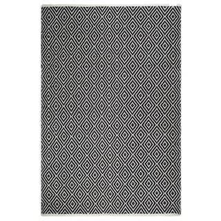 Fab Habitat, Indoor/Outdoor Floor Mat/Rug - Handwoven, Made from Recycled Plastic Bottles - Veria/Black & White - 2' x 3'