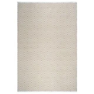 Fab Habitat, Indoor/Outdoor Floor Mat/Rug - Handwoven, Made from Recycled Plastic Bottles - Veria/Almond & White - 2' x 3'