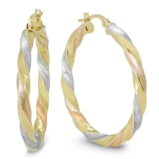 Marquee Jewels 10K Yellow Gold Multi-Tone Hoop Earrings (30 MM)