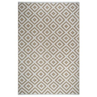 Fab Habitat Indoor Outdoor Floor Mat Rug Handwoven Made from Recycled Plastic Bottles Chanler Kilim Almond & White  2 x 3
