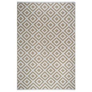 Fab Habitat Indoor Outdoor Floor Mat Rug Handwoven Made from Recycled Plastic Bottles Chanler Kilim Almond & White 2 x 3