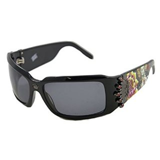 Christian Audigier CAS-412 Unisex Black Frame Black Lens Polarized Sunglasses