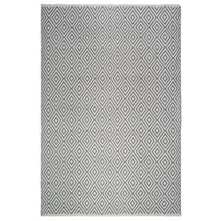 Fab Habitat, Indoor/Outdoor Floor Mat/Rug - Handwoven, Made from Recycled Plastic Bottles - Veria/Grey & White - 2' x 3'