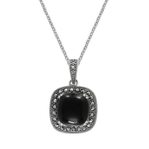 "MARC Sterling Silver Cushion Black Onyx & Marcasite Pendant 18"""