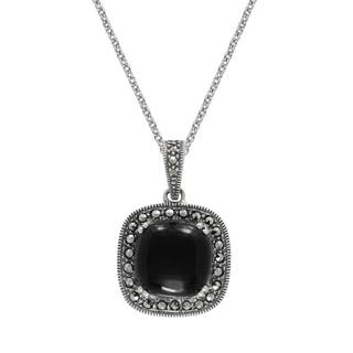 "MARC Sterling Silver Pendant Cabochon Cushion Cut Black Onyx & Marcasite in 18"" chain
