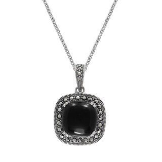 "MARC Sterling Silver Pendant Cabochon Cushion Cut Black Onyx & Marcasite in 18"" chain"