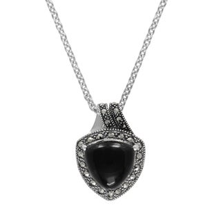 """MARC Sterling Silver Cabochon Triangle Cut Black Onyx & Marcasite in 18"""" chain"""