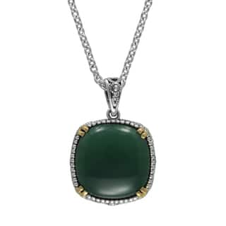 "MARC Sterling Silver Cabochon Cushion Cut Green Agate & Marcasite, accented with 14K Yellow Gold Prongs in 18"" chain