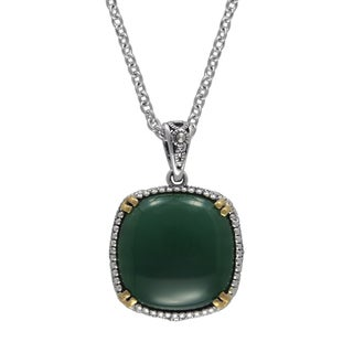 MARC Sterling Silver Cabochon Cushion Cut Green Agate & Marcasite, accented with 14K Yellow Gold Pro