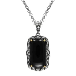 "MARC Sterling Silver Cabochon Rectangular Cut Black Onyx & Marcasite, accented with 14K Yellow Gold Prongs in 18"" chain
