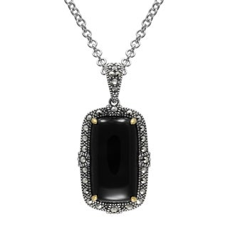 MARC Sterling Silver Cabochon Rectangular Cut Black Onyx & Marcasite, accented with 14K Yellow Gold
