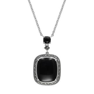 "MARC Sterling Silver Cabochon Cushion Cut Black Onyx & Marcasite in 18"" chain