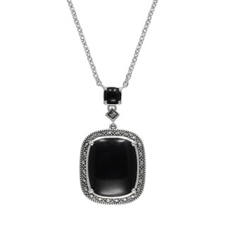"MARC Sterling Silver Cabochon Cushion Cut Black Onyx & Marcasite in 18"" chain"