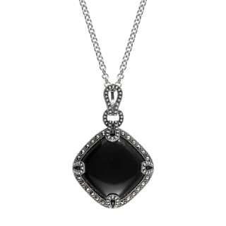 """MARC Sterling Silver Cabochon Diamond-shaped Cut Black Onxy & Marcasite in 18"""" chain"""