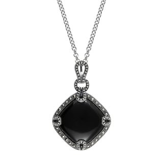 "MARC Sterling Silver Cabochon Diamond-shaped Cut Black Onxy & Marcasite in 18"" chain"