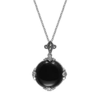 "MARC Sterling Silver Cabochon Round Cut Black Onyx & Marcasite in 18"" chain