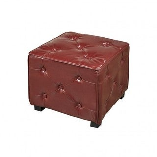 Brassex Red Tufted Cube Ottoman