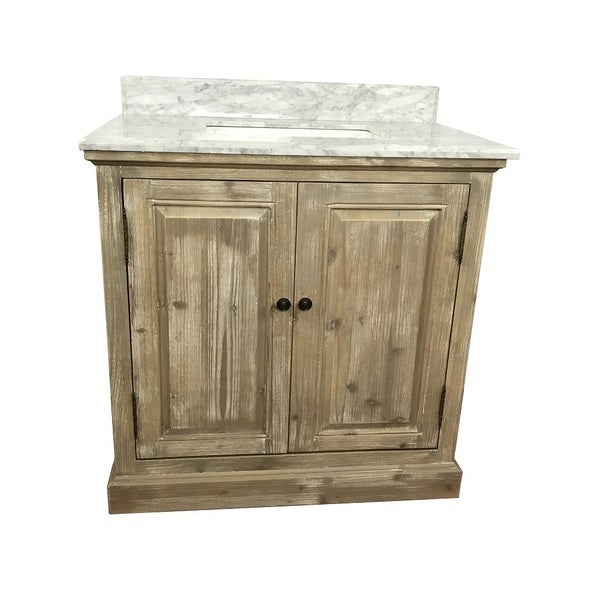 Shop rustic style 36 inch single sink bathroom vanity with carrera white marble top free for 36 inch rustic bathroom vanity