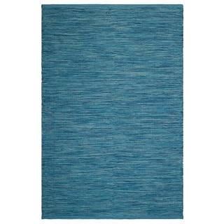 Fab Habitat, Indoor/Outdoor Floor Mat/Rug - Handwoven, Made from Recycled Plastic Bottles - Cancun/Blue - 2' x 3'