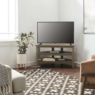 Porch & Den Shaw Contemporary Weathered Grey Corner Tv Stand