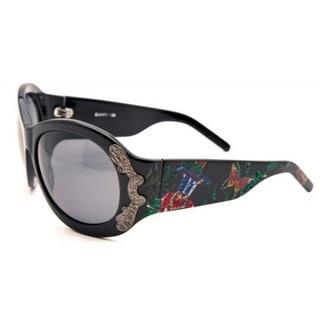 Christian Audigier Butterfly Garden CAS 409 Black and Multicolor Frame Black Lens Sunglasses