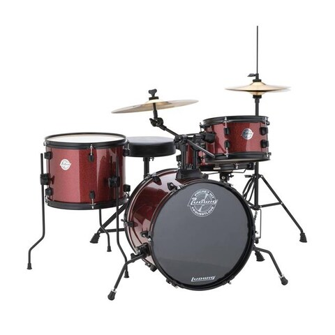"Ludwig LC178X025 Questlove Pocket Kit 16"" Bass Drum 4-Piece Drum Set - Red Wine Sparkle"