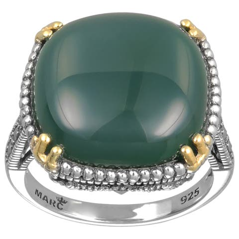MARC Sterling Silver Cushion Green Agate & Marcasite w/ Gold trim Ring