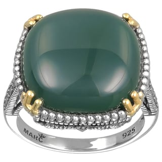 MARC Sterling Silver Ring Set With Cabochon Cushion Cut Green Agate & Marcasite, accented with 14K Yellow Gold Prongs